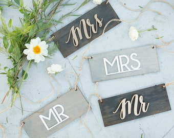 Mr and Mrs Signs, Wedding Signage, Bride and Groom Signs, Wedding Reception Chairs, Wedding Decor