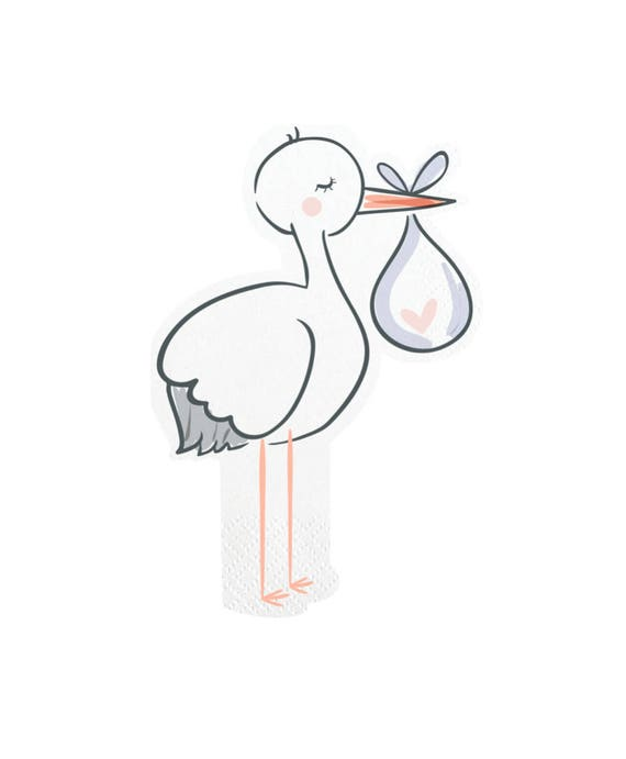 Stork Baby Shower Napkins Baby Shower Stork Baby Boy Baby Etsy