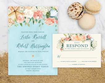 "Beachy Wedding Invitation - 5x7"""