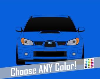 Subaru STI G2 Hawkeye Poster // WRX // Impreza // Colorful Car Posters