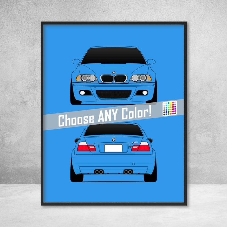 Bmw M3 E46 Front And Rear View Poster Print 3 Series 2000 2006 Wall Art Decor Handmade Bmw M Power D1
