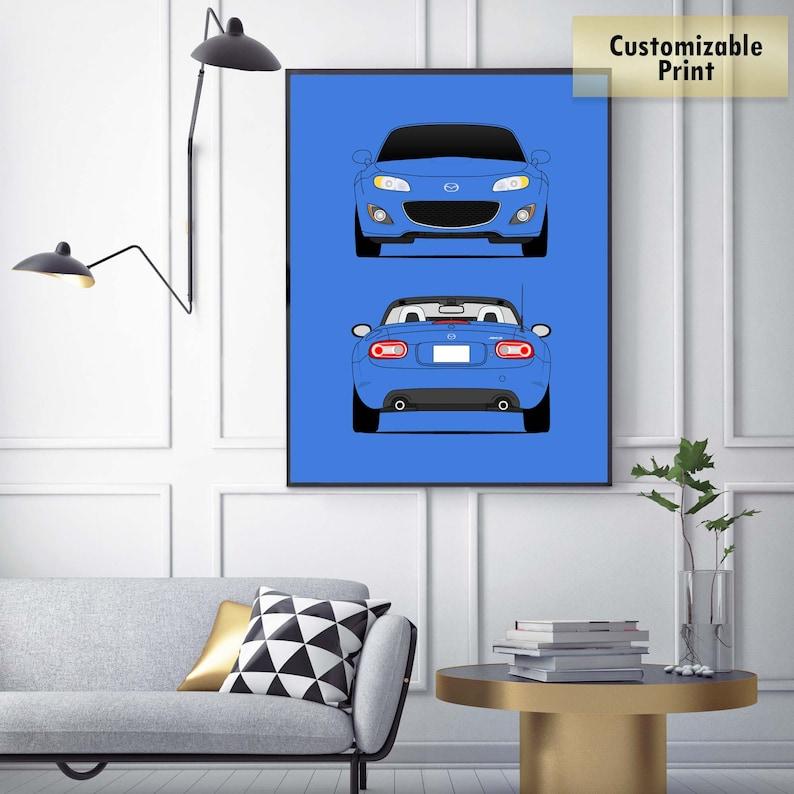 Mazda Miata MX-5 NC Roadster JDM Front and Rear View Poster Print Wall Art Decor D1