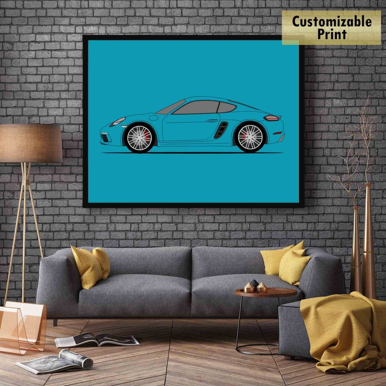 Side Profile View Poster Print Wall Art Decor C1 Porsche Cayman S 718 982 2016-2018