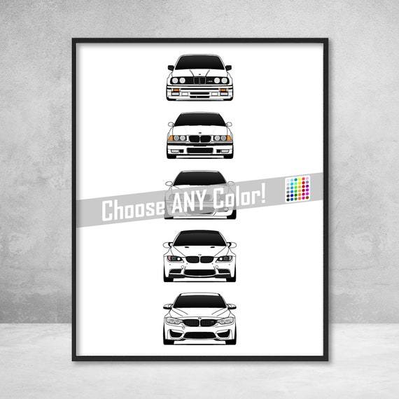 BMW M3 Poster Print Wall Art History and Evolution of E30 F80 E46 E92 E36