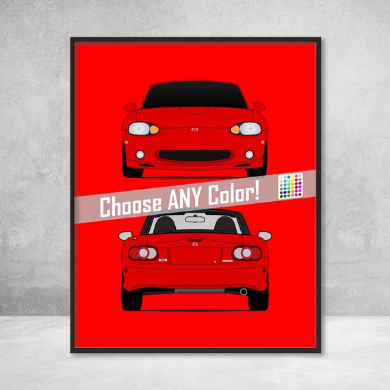 Mazda Miata Jdm >> Mazda Miata Mx 5 Nb Roadster Jdm Front And Rear View Poster Print Wall Art Decor D1