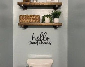 Hello sweet cheeks, bathroom humor, bathroom decor, bathroom sign, bathroom wall decor, wood word cut out, laser cut, wooden wall art