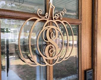 Pumpkin door hanger, pumpkin initial door hanger, last name and door hanger sign, fall door hanger, monogram door hanger, fall Decor