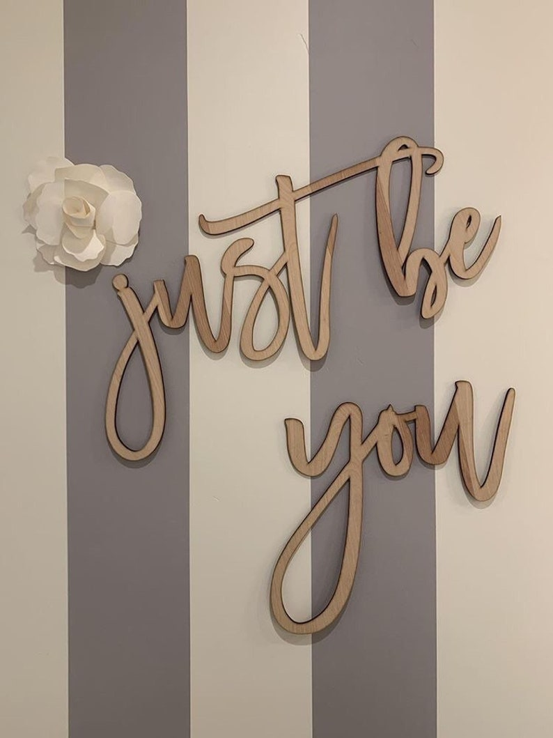bathroom decor wood words wall decor wood word cut out wooden wall art Just be you home decor wedding gift bedroom decor laser cut