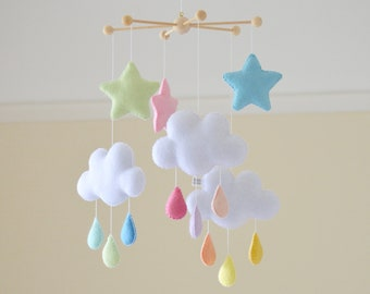 Rainbow baby mobile, rainbow cot mobile, Baby decor, Nursery mobile, Cloud mobile, Nursery decor, Rainbow decor, cot mobile, pastel star