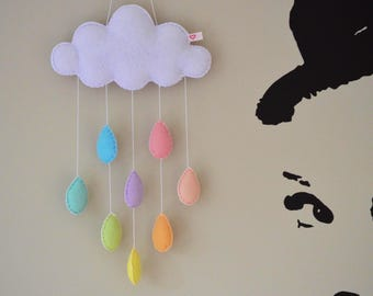 Cloud and pastel rainbow raindrops handmade felt hanging nursery mobile crib cot wall door window decoration baby shower gift