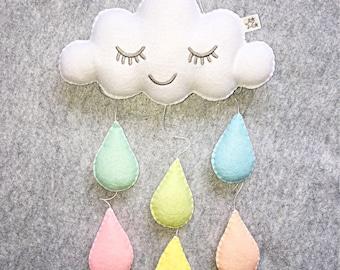 Pastel nursery mobile, baby mobile, rainbow cot mobile,  nursery decor, cloud mobile, rainbow mobile,  wall hanging, rainbow nursery, baby