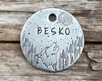Wilderness Dog Tags Pet Tags Unique Dog Tags Large Dog Tags Adventure Dog Tags Personalized Dog Tags Wolf Dog Tags Custom Dog Tags