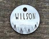 Dog Tag, Dog Tags for Dogs, Dog Tags, The Snowy Ridge, Pet Id Tag, Personalized Dog Tag, Trees Tag, Metal Hounds