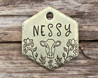 Pet Tag, Dog Tag Personalized, Cow Tag, Dog Tags for Dogs, Dog Tags, Pet Id Tag, Custom Dog Tag, Flower, Cow, The Jersey