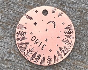 Hand Stamped Pet ID Tag, Dog Tags, Dog Tags for Dogs, Dog Tag, The Starlight 2, Moon Stars Trees, Personalized Dog Tag, Dog Tag for Collar