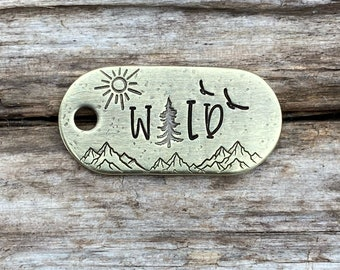 Dog Tag, Zipper Pull, Into the Wild, Keychain, Hand Stamped, Metal Hounds, Custom, Personalized, Sun, Birds, Mountain, Trees