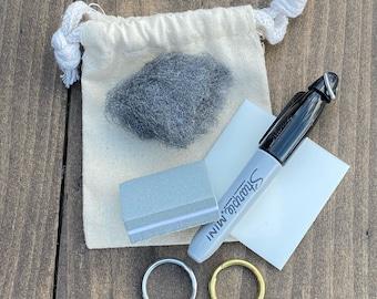Metal Hounds Tag Polishing Kit, Includes Mini Sharpie Marker, Fine Steel Wool, Polishing Pad, Buffing Block, Split Ring, Add On, Upgrade