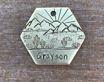 Dog Tags For Dogs, The Red Rock, Cactus Dog Tag, Personalized Dog Tag, Pet Id Tag, Custom Dog Tag, Pet Supplies,