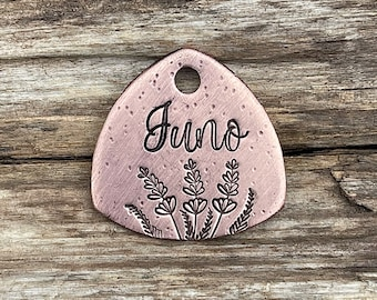 Pet Tag, Dog Tag for Dogs, Dog Tags, Trillion Shape, Personalized Pet ID, Custom, Collar Tag, Trees, Lavender Fields