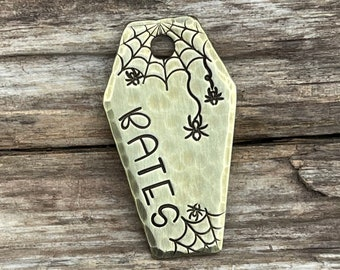 Coffin Dog Tag, Dog Tag, Dog Tag for Dogs, Collar Tag, Spooky Pet Tag, Pet ID, Personalized Pet ID, Custom, Unique Pet Tag, Webbed Coffin