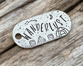 Dog Tag, Pet Tag, Zipper Pull, Wanderlust, Keychain, Hand Stamped, Metal Hounds, Custom, Personalized, Moon, Stars, Trees, Camping, Campfire