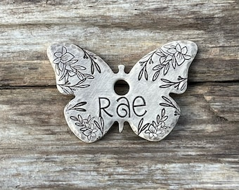 Pet ID Tag, Butterfly Dog Tag, Dog Collar Tag , Pet Name Tag, Hand Stamped Dog Tag, Custom, Dog Tag for Dog, Personalized, Floral, Gladiolus