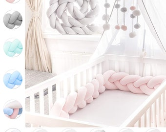 UNTERING 5pcs Cotton Baby Bedding Set Washable Toddler Crib Bumper Bed Sheet Pillowcase
