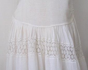 Vtg 1920s White Cotton Tea Dress - Bobbin Lace Skirt - Daytime Gatsby