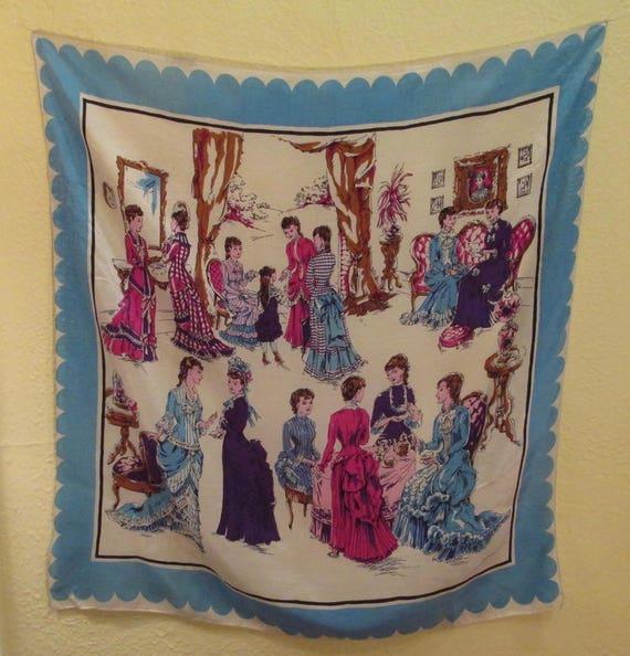 1940s Vintage Silk Scarf - Victorian Ladies Having