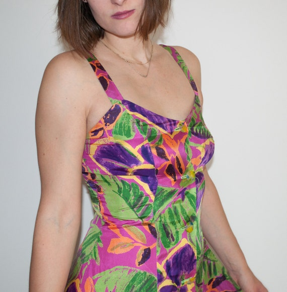 NEON TROPICAL Flower Print SILK Mini Dress