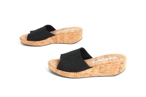 CORK WEDGE Slip On Sandal Mules