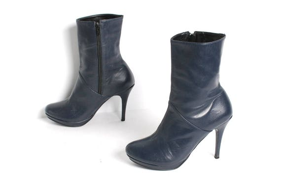 1980s STILETTO Navy Blue Leather PLATFORM Boots Si