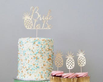 Bride to Be - Set of 15 pineapple cupcake toppers & 1 cake topper, tropical theme, Hawaiian bridal shower, Caribbean bride