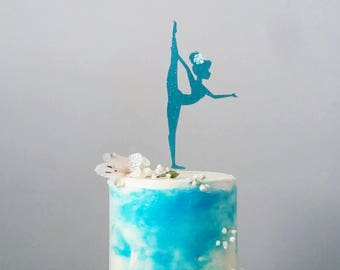 Little Gymnast Cake Topper, in any color, girl's birthday, gymnastics, acrobat theme