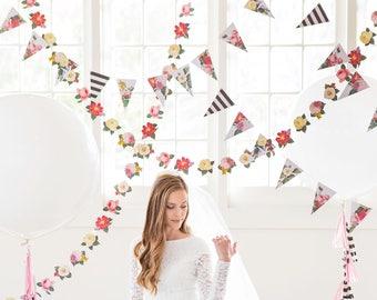 Botanical Pennant Banner, floral design, perfect for a garden wedding or bridal shower