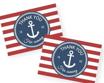 Print & Cut - Nautical Anchor Thank You Tags, perfect for a boy's birthday or baby shower