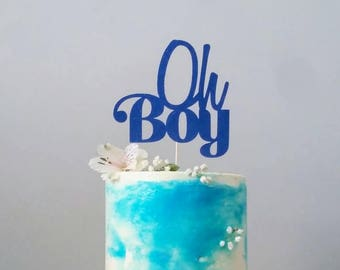 Oh Boy cake topper, in any color, baby shower, pregnancy announcement, it's a boy, gender reveal, about to pop, expecting mom, baby boy