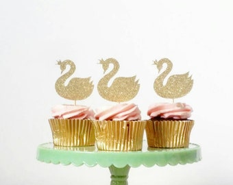 Set of 12 Swan cupcake toppers, wedding, engagement, bridal shower, anniversary, special occasion