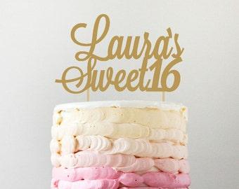 Personalized Sweet 16 Cake Topper,  Custom Birthday Cake Topper in any color, 16th birthday party, sweet sixteen