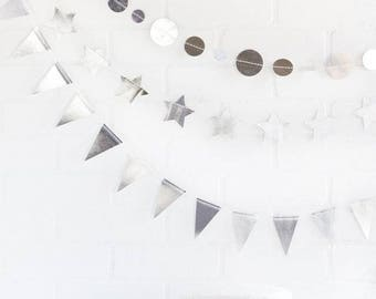 Silver Banner set, three 8 feet of double sided mini banners, stars, circles, triangles | Perfect for any occasion