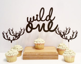 Wild One - Set of 15  cupcake toppers and 1 cake topper, in any color, perfect for a boho baby or tribal baby shower theme