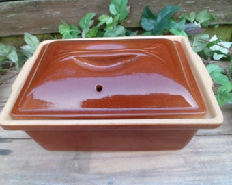 Prepare for oven stoneware tureen venisse Renault Berry, French terrine dish, prepare for clay, flat