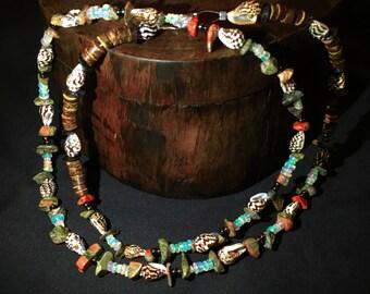 8 Carat Precious Opal, Seashell, and Unakite Gemstone Necklace