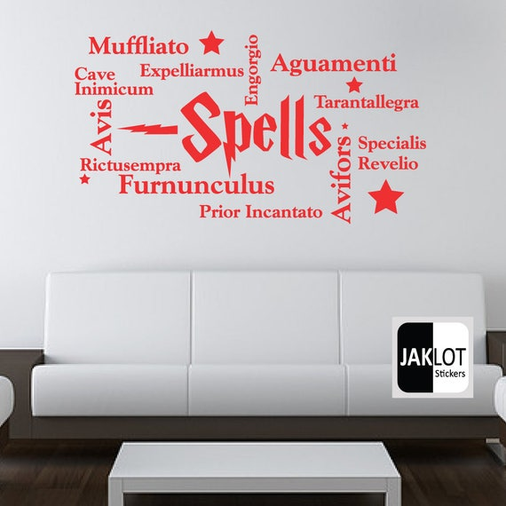 harry potter spells collage words vinyl wall art sticker | etsy