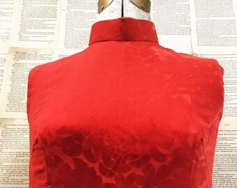 Vinatge Chinese/Mandarin Embossed Velvet Dress