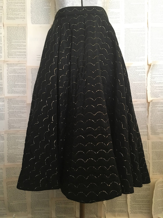 Vintage 1950's Black Quilted Circle Skirt