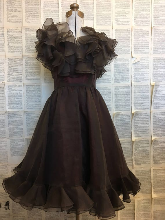 Vintage Ruffled Organza Dress