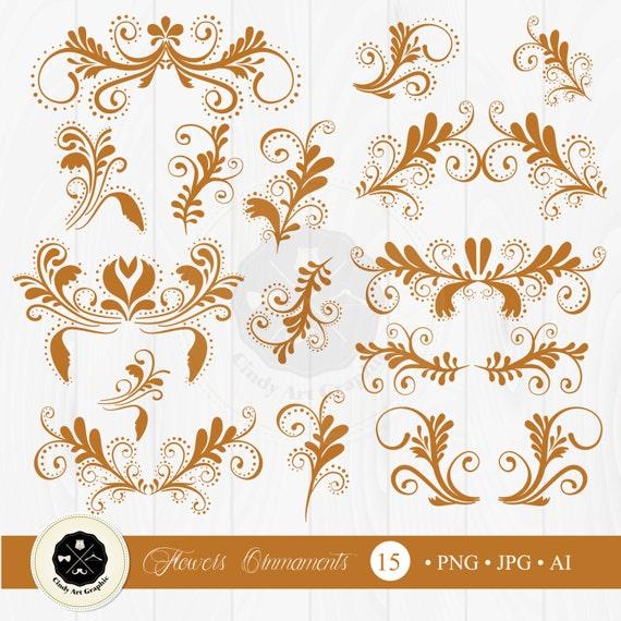Blumen Ornamente Clipart Blumen Clipart Ornament Clipart Etsy