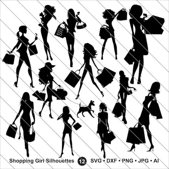 shopping girl sihouettes svg shopping girl clipart etsy Fiji Island Recipes image