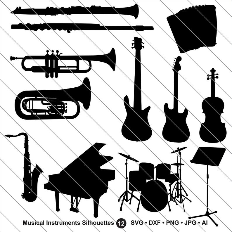 Musical Instruments Silhouettes Svg Musical Clipart Musical